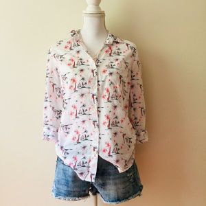 "Old Navy | White ""Firework"" Print Button Down Top"